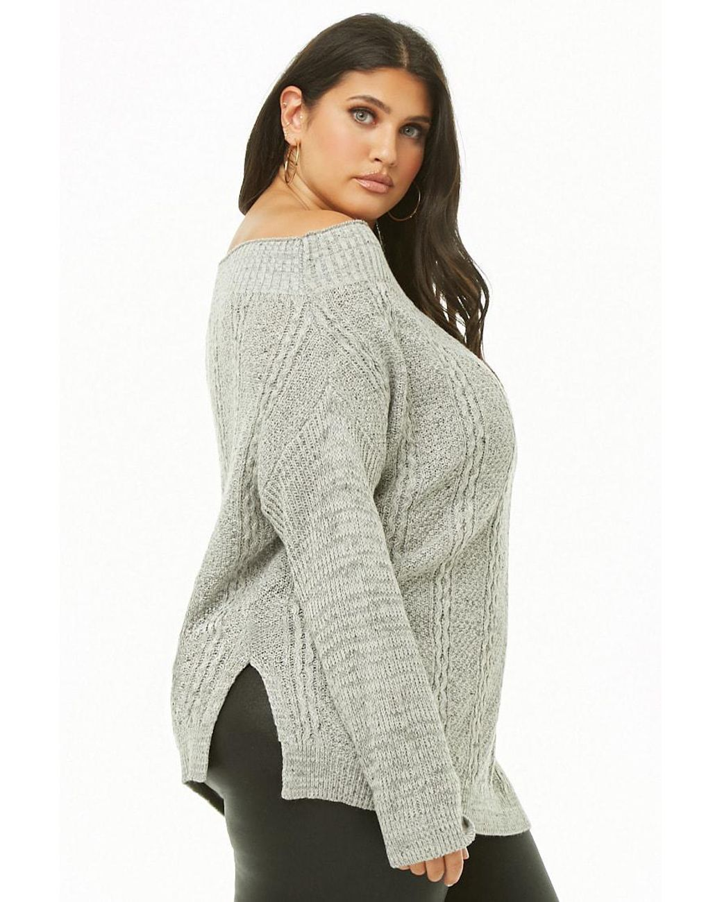 03294d489 Forever 21 Women s Plus Size Off-the-shoulder Cable-knit Jumper Sweater in  Gray - Lyst