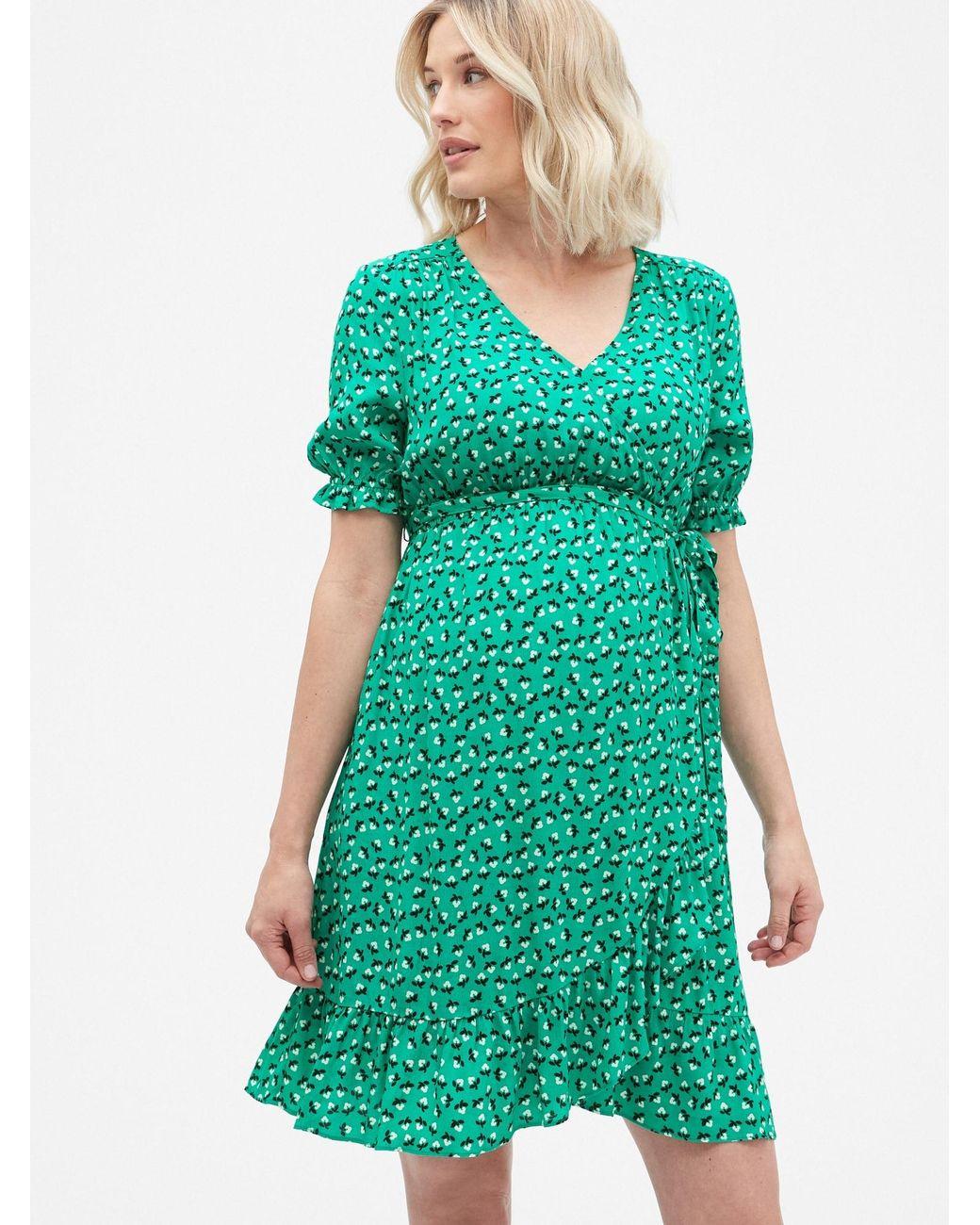 a6b67a70b8 Gap Maternity Ruffle Print Wrap Dress in Green - Lyst