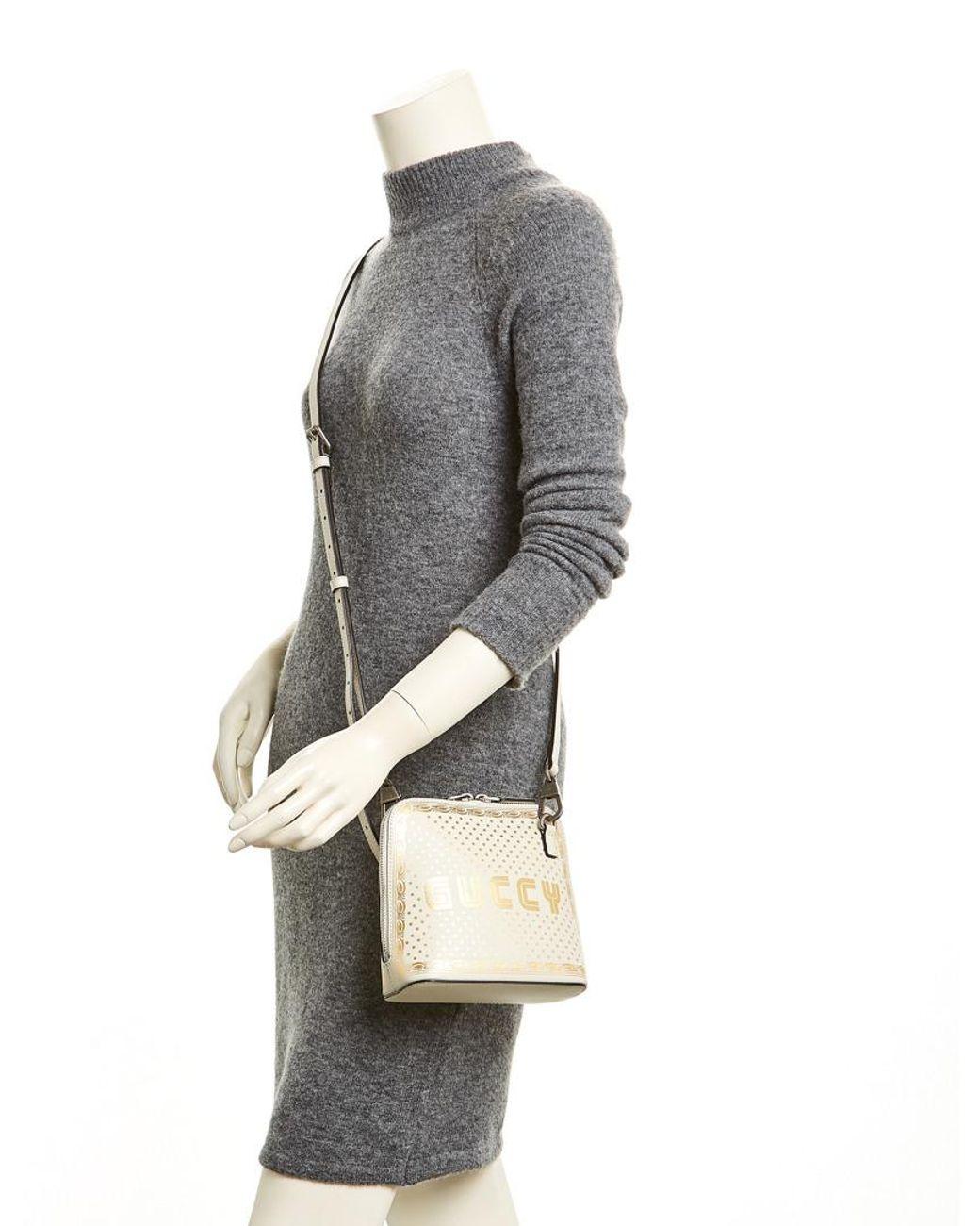 ec03ba88bf0 Lyst - Gucci Guccy Sega® Print Mini Shoulder Bag in White - Save 40%