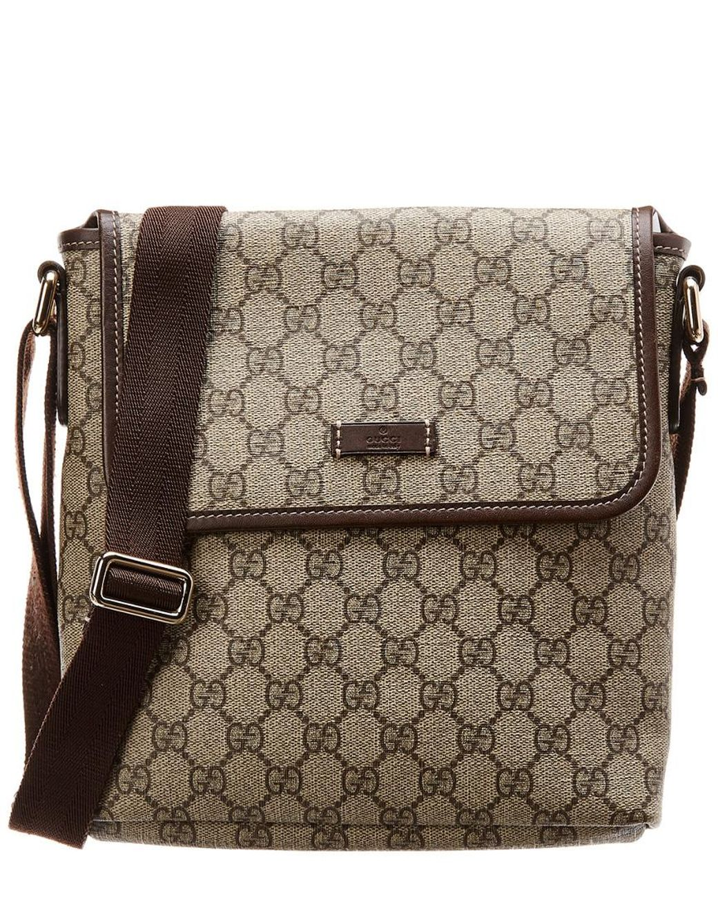 5f823332b3dd Gucci Brown GG Supreme Canvas & Leather Messenger Bag in Brown - Lyst