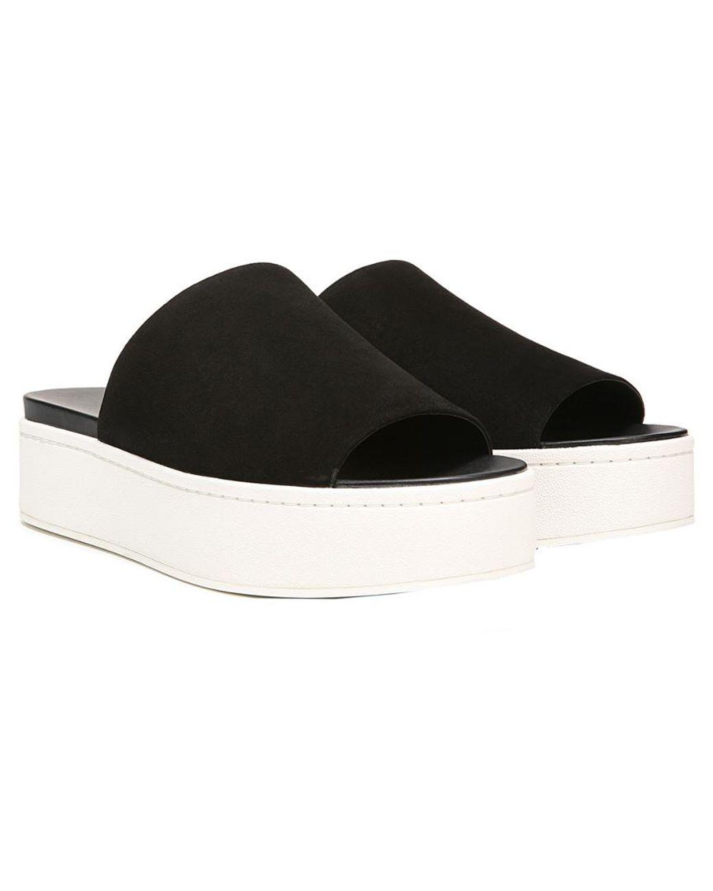 18fe010c6a4 Lyst - Vince Walford Suede Slide Sandal in Black - Save 47%