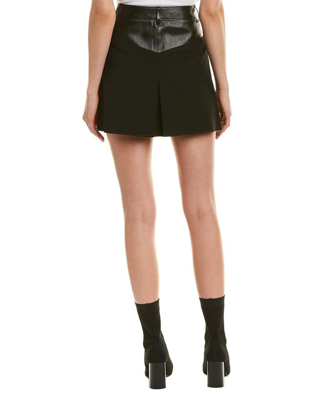 e6f09916b Helmut Lang Contrast Leather-trim Wool-blend Mini Skirt in Black - Save 11%  - Lyst