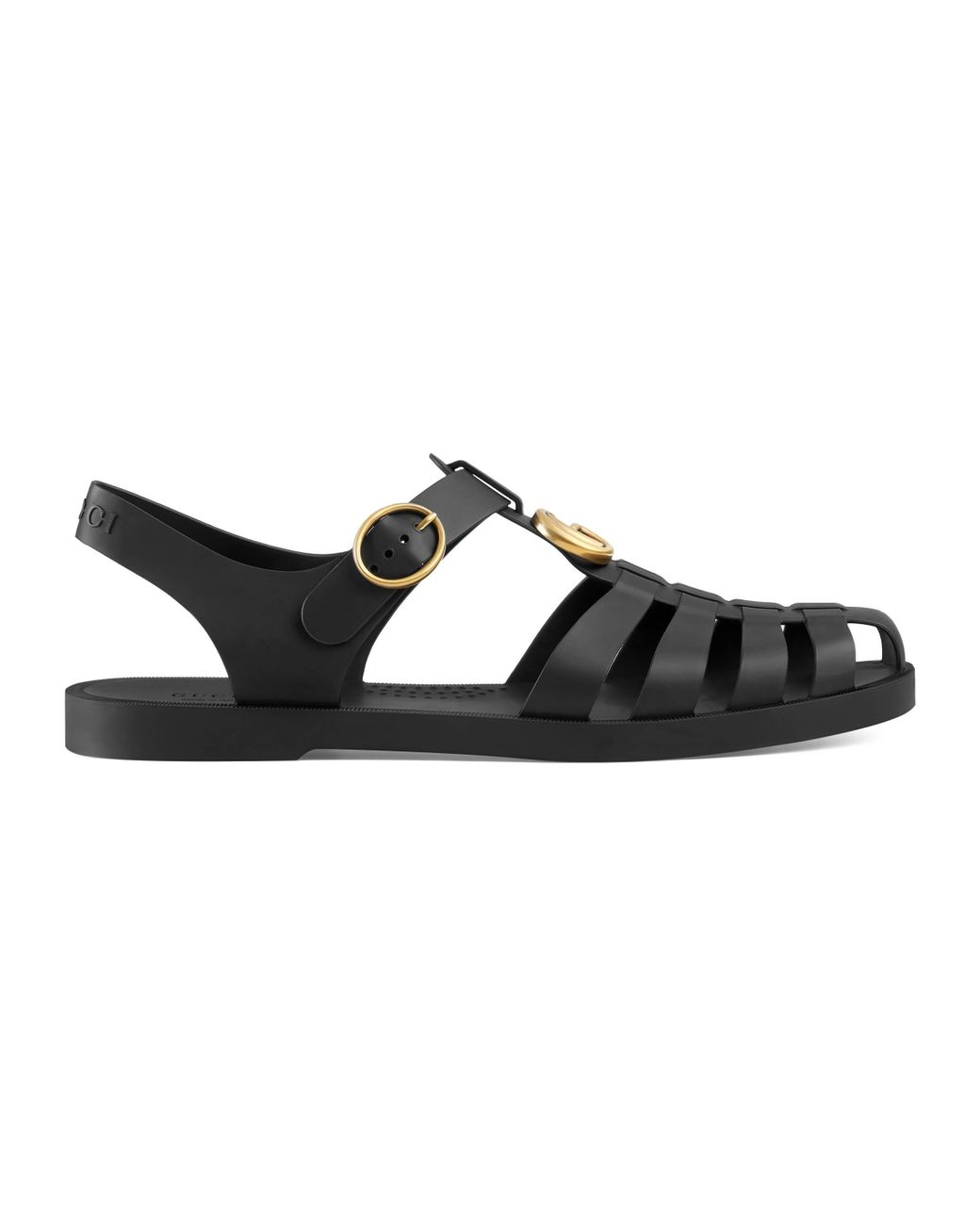 9741a88a183 Gucci Rubber Buckle Strap Sandal in Black for Men - Lyst