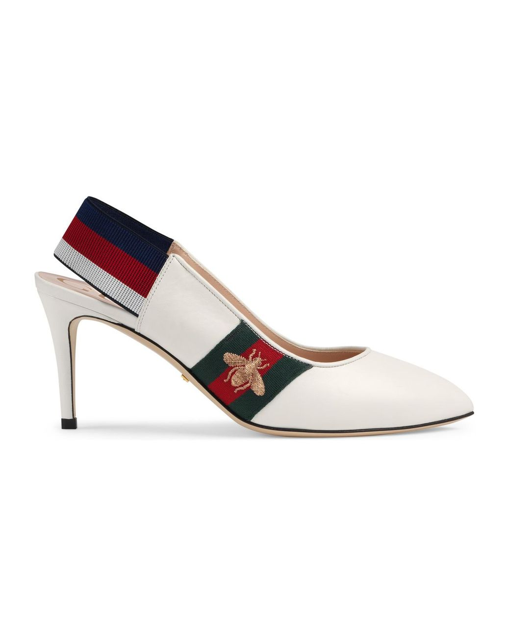 658e47ee82f Lyst - Gucci Leather Web Mid-heel Slingback Pump in White - Save 10%