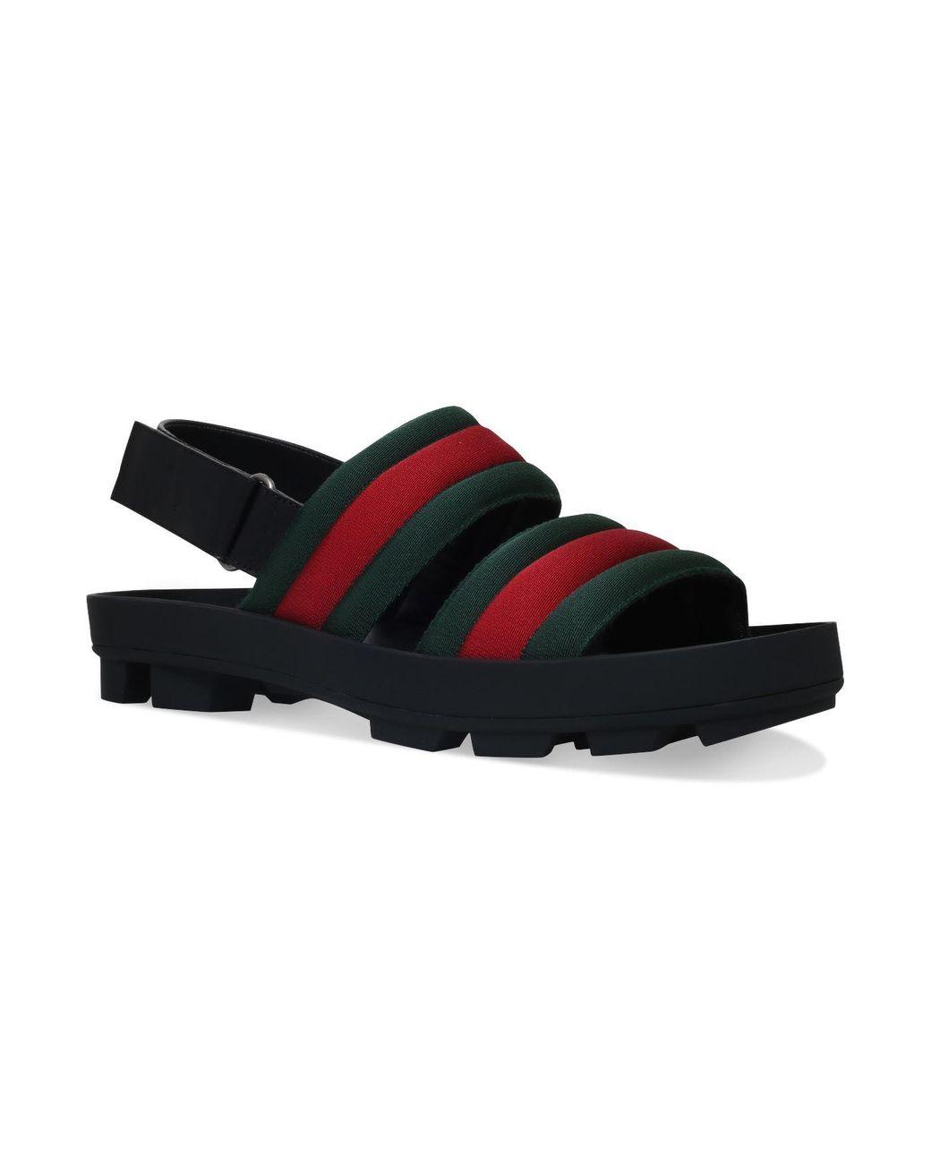 b7adff1bf Gucci Sam Webbed Sandals in Black for Men - Lyst