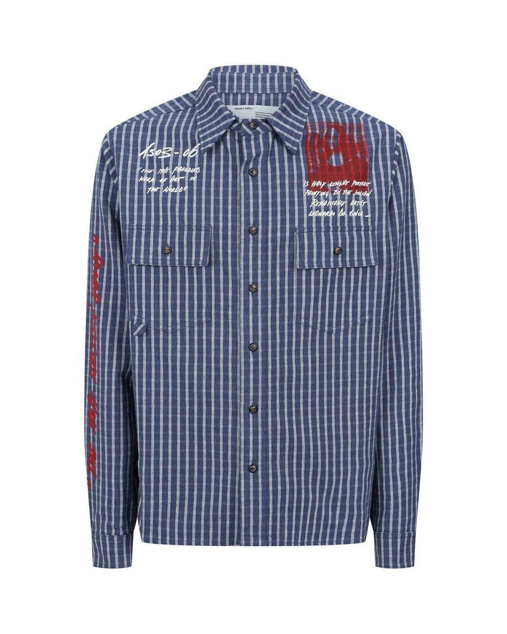 962cd72b026 Off-White c/o Virgil Abloh Checked Monalisa Shirt in Blue for Men ...