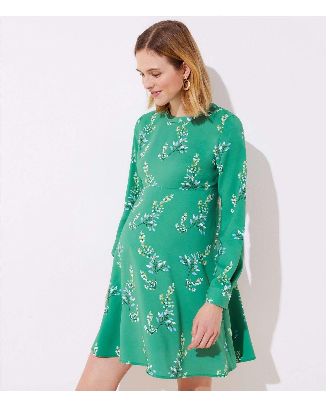 754ffe01 LOFT Maternity Flower Branch Flare Shirtdress in Green - Save 7% - Lyst