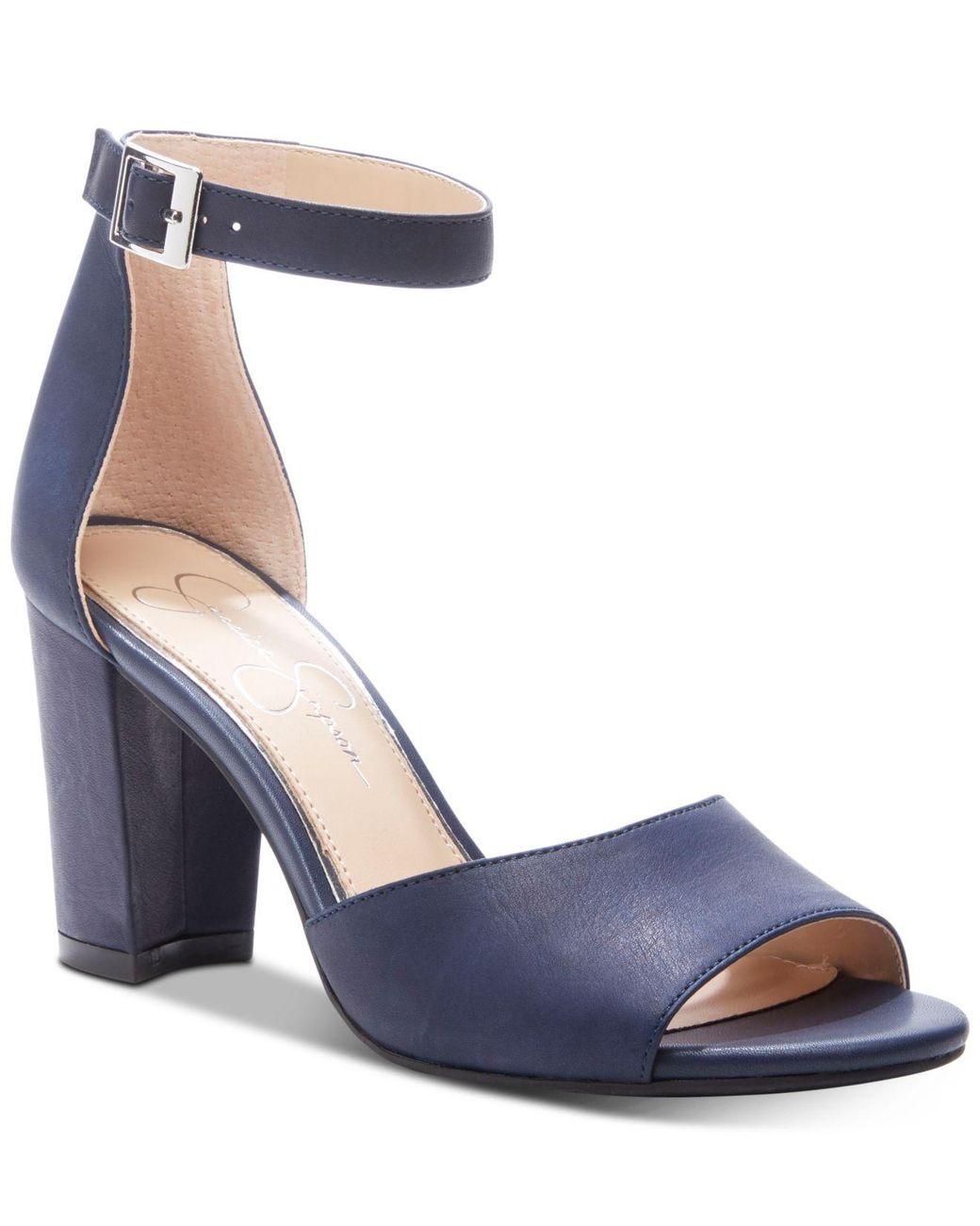 8200d68a84f0 Jessica Simpson Sherron Block-heel Sandals in Blue - Lyst
