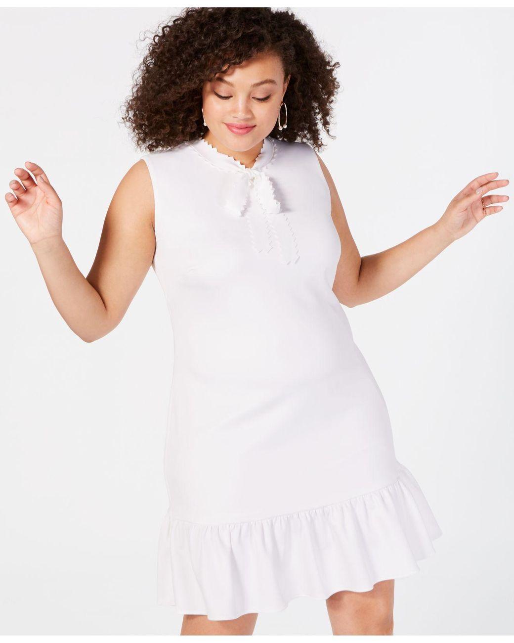 ebd36f2178c0 Lyst - Betsey Johnson Trendy Plus Size Tie-neck Flounce Shift Dress in White