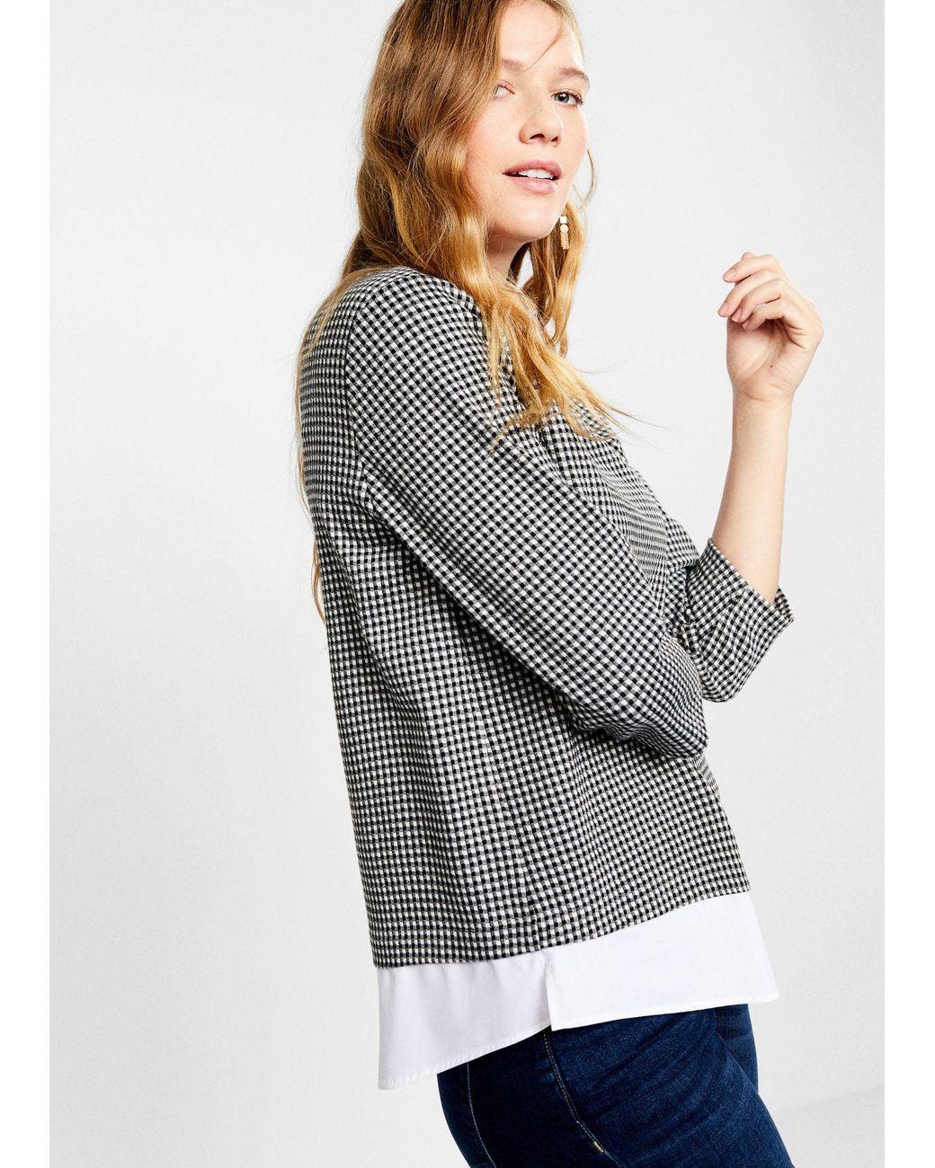 307f4a07b Violeta by Mango Gingham Check Contrast Sweatshirt in Black - Lyst