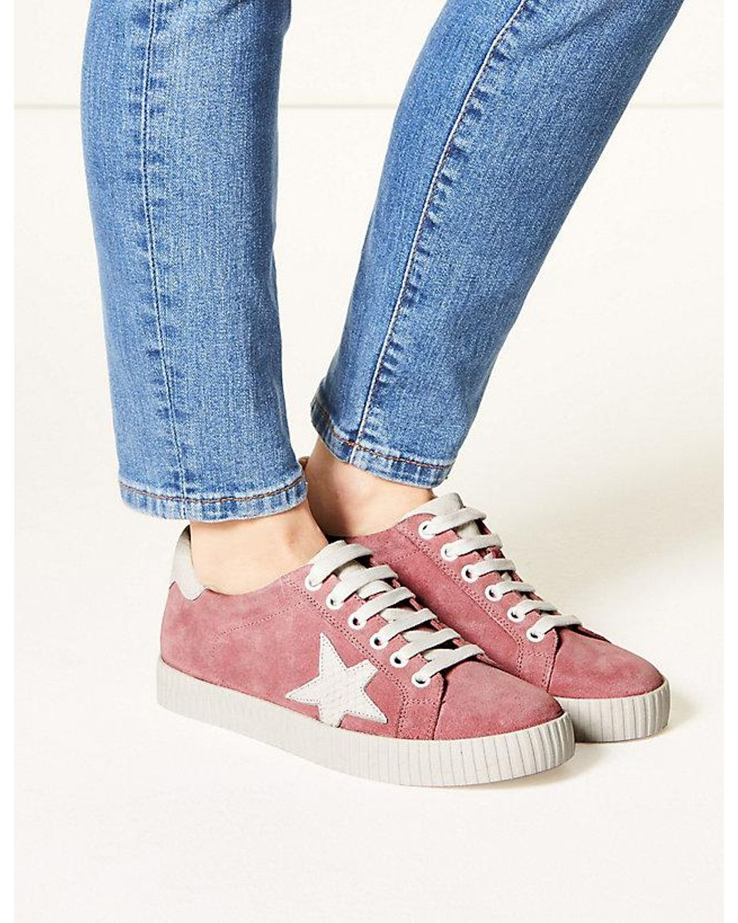 8239e20526ae Marks & Spencer Wide Fit Leather Star Trainers in Pink - Lyst
