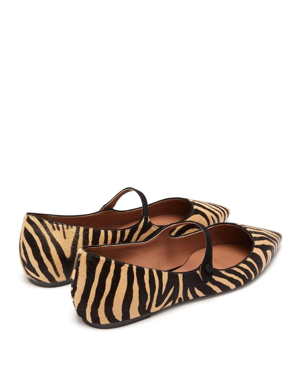 71fa82c4f7a60 Tabitha Simmons Hermione Zebra Print Calf Hair Mary Jane Flats - Lyst