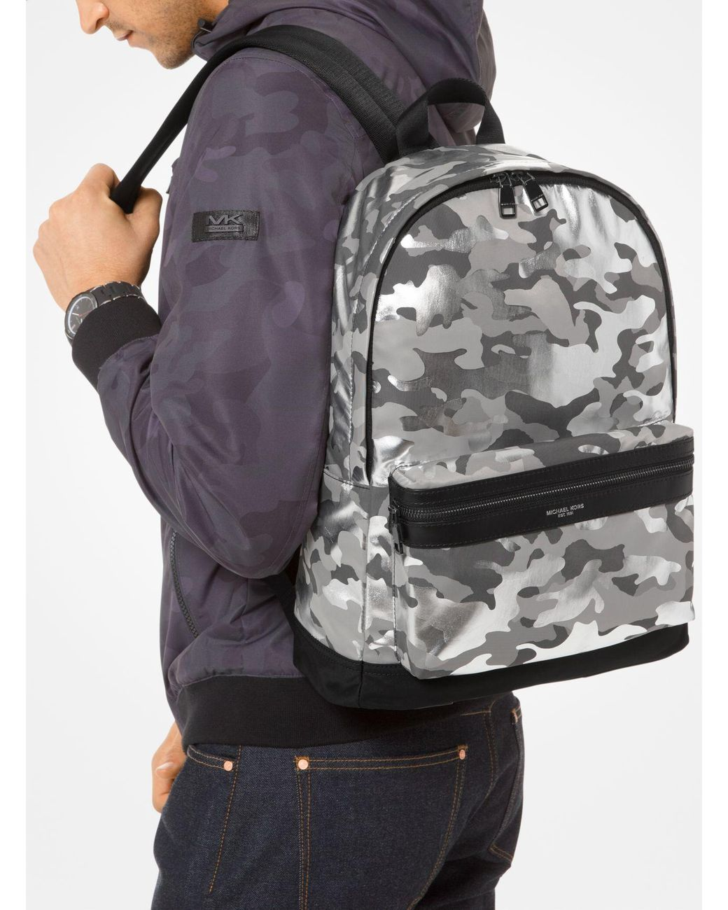 5e44b901a70001 Lyst - Michael Kors Kent Camouflage Nylon Backpack in Metallic for Men -  Save 2%