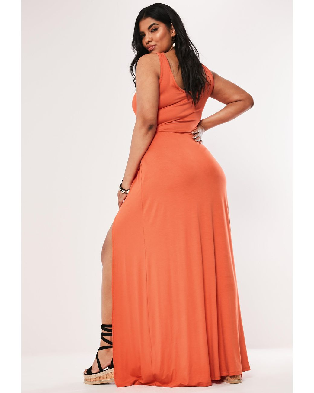 7f22ab177d55 Lyst - Missguided Plus Size Orange Double Split Maxi Dress in Orange