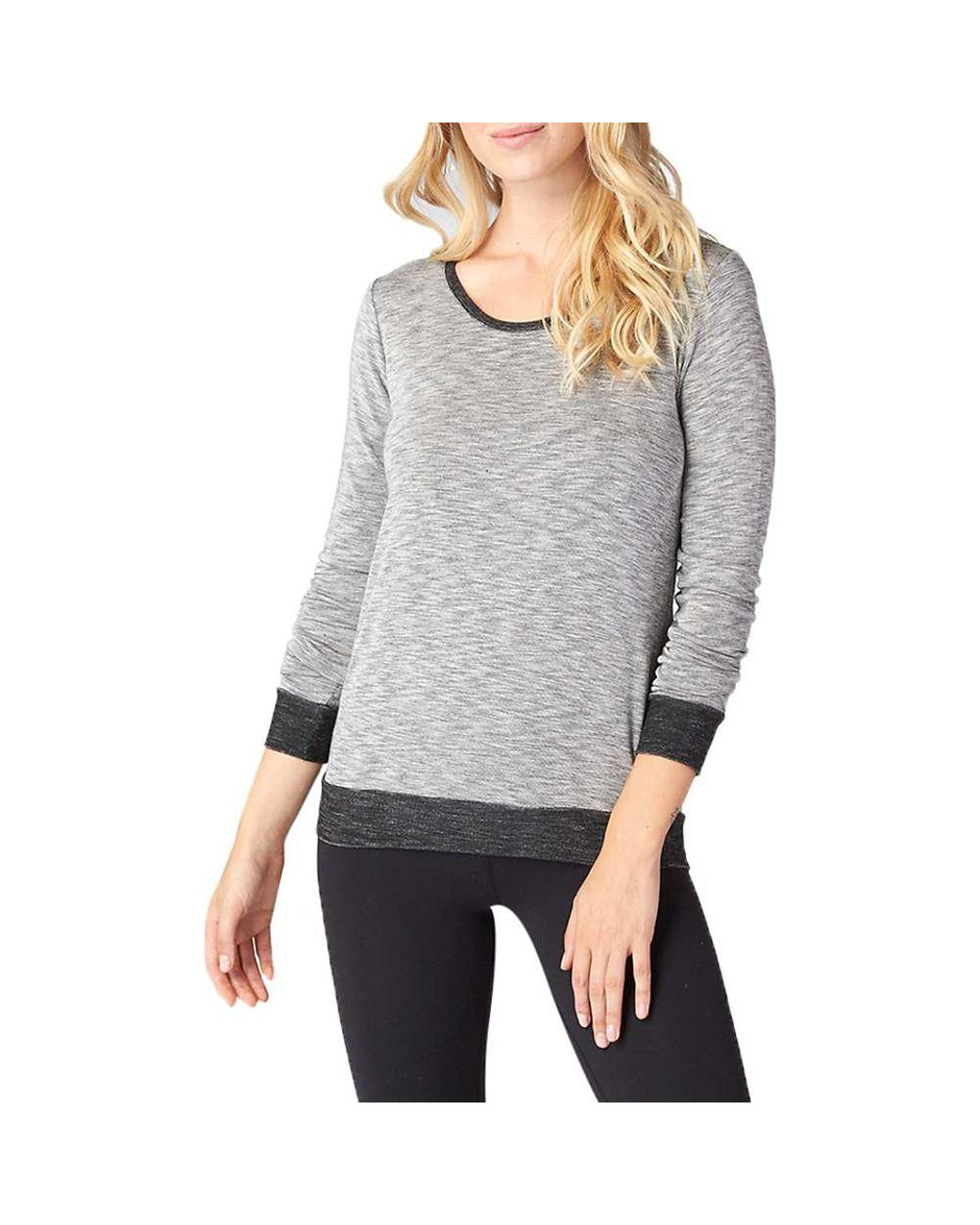 69005cf62f Lyst - Beyond Yoga Double Face Cowl Back Pullover Top in Gray