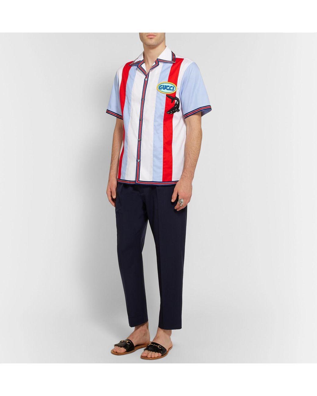 2fe1130fc Gucci Camp-collar Appliquéd Striped Cotton Oxford Shirt in Blue for Men -  Lyst