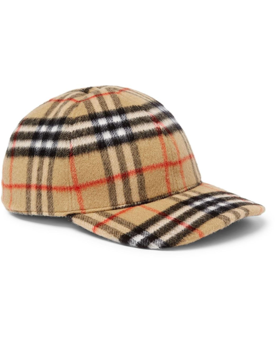 04b1e631dd6 Long-Touch to Zoom. Burberry - Brown Checked Brushed-wool Baseball Cap ...