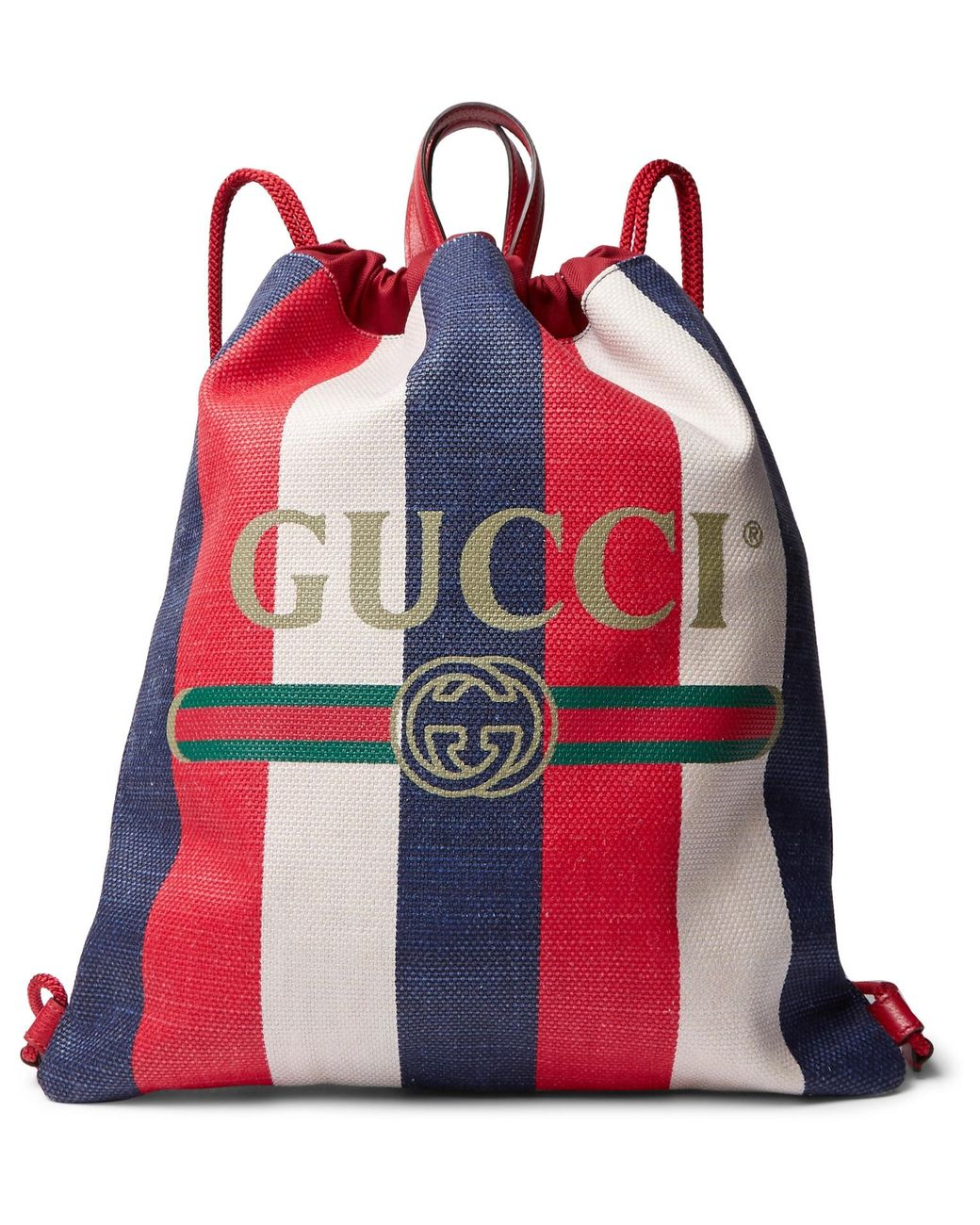 2e0c4a26f3c8 Gucci Leather-trimmed Logo-print Striped Canvas Drawstring Backpack in Red  for Men - Lyst