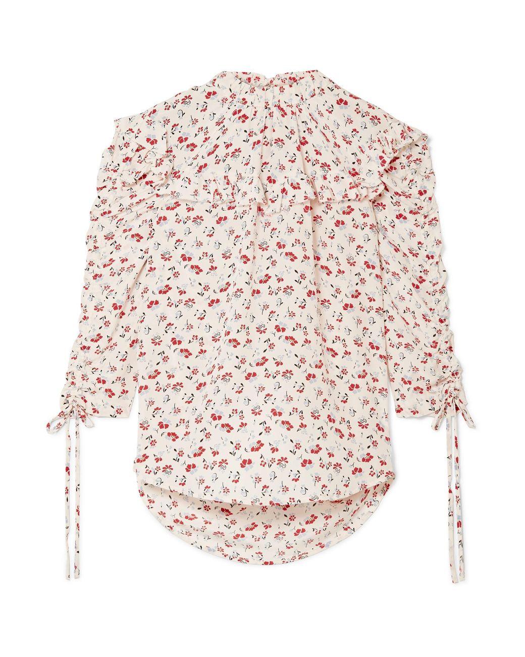 24dc2b4b64ad49 Lyst - Veronica Beard Howell Floral-print Silk-satin Blouse in White ...