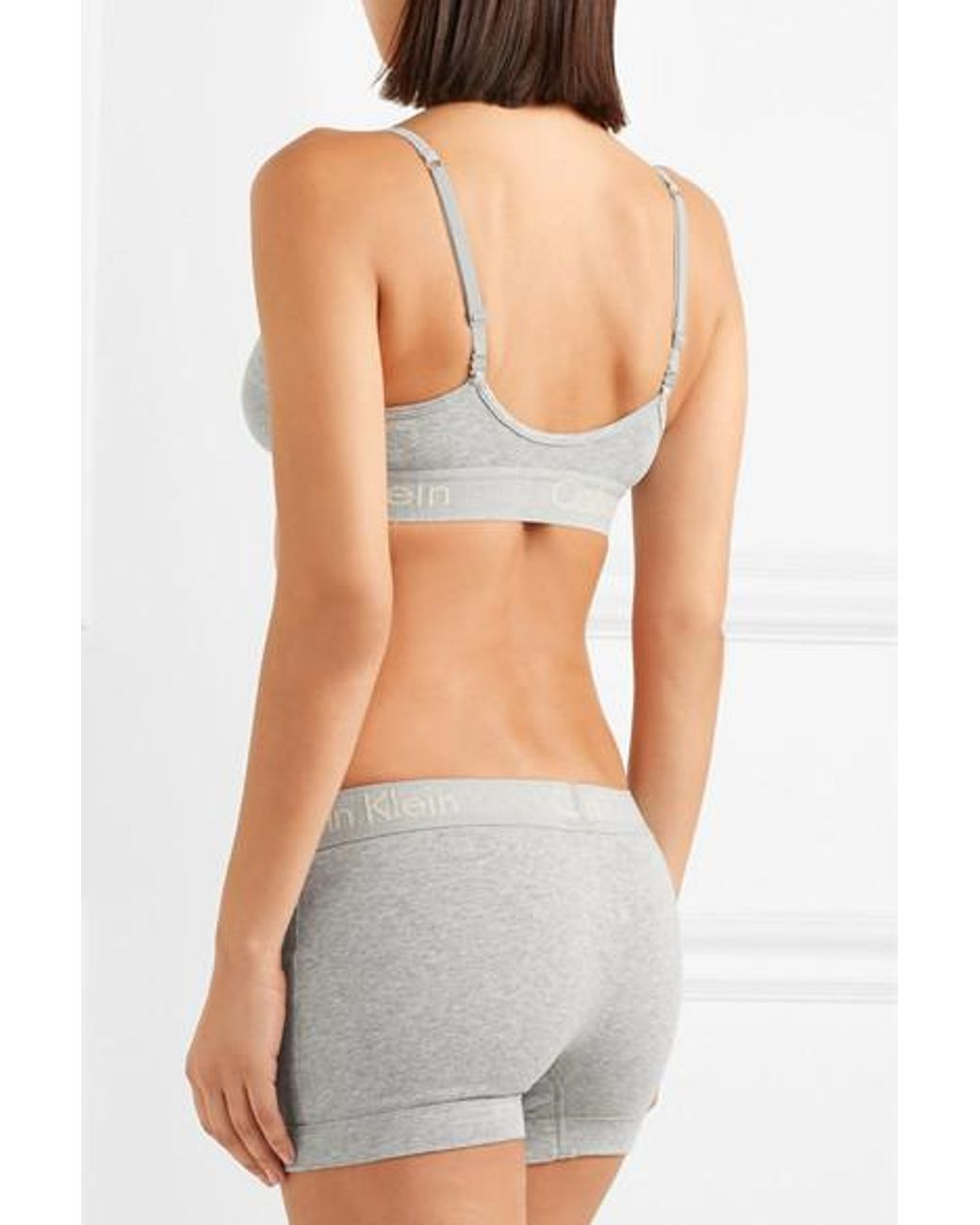 4c276f291bc6 Calvin Klein Body Ribbed Cotton-jersey Boy Shorts in Gray - Save 35% - Lyst