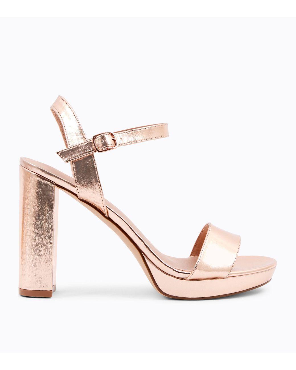 95e06115492 New Look Rose Gold Metallic Block Heel Platform Sandals in Pink - Lyst