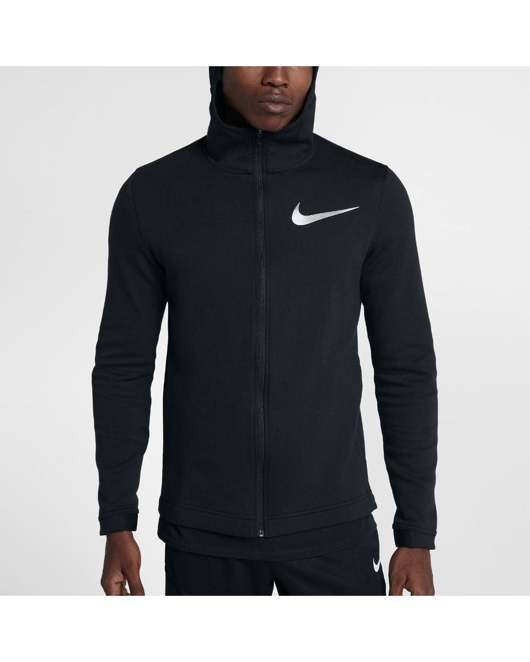 0a448efdefb4 Long-Touch to Zoom. Nike - Black Dry Hyper Elite Showtime Men s Full Zip  Basketball Hoodie ...