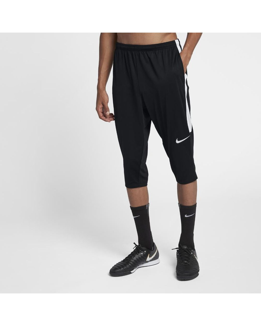 ea0a6625094a Long-Touch to Zoom. Nike - Black Dri-fit Academy Men s 3 4 Soccer Pants ...