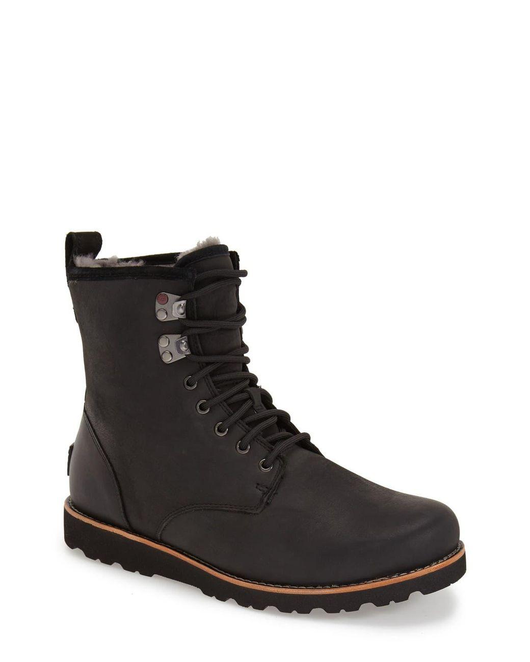 dc4d6cbe88c Men's Black Ugg Hannen Plain Toe Waterproof Boot With Genuine Shearling