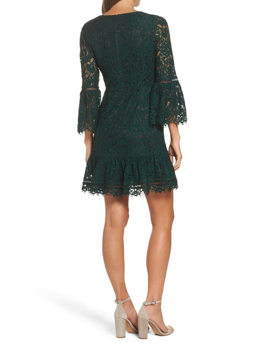 6ba186e2e5 Lyst - Eliza J Bell Sleeve Lace Cocktail Dress (regular   Petite) in Green  - Save 22%