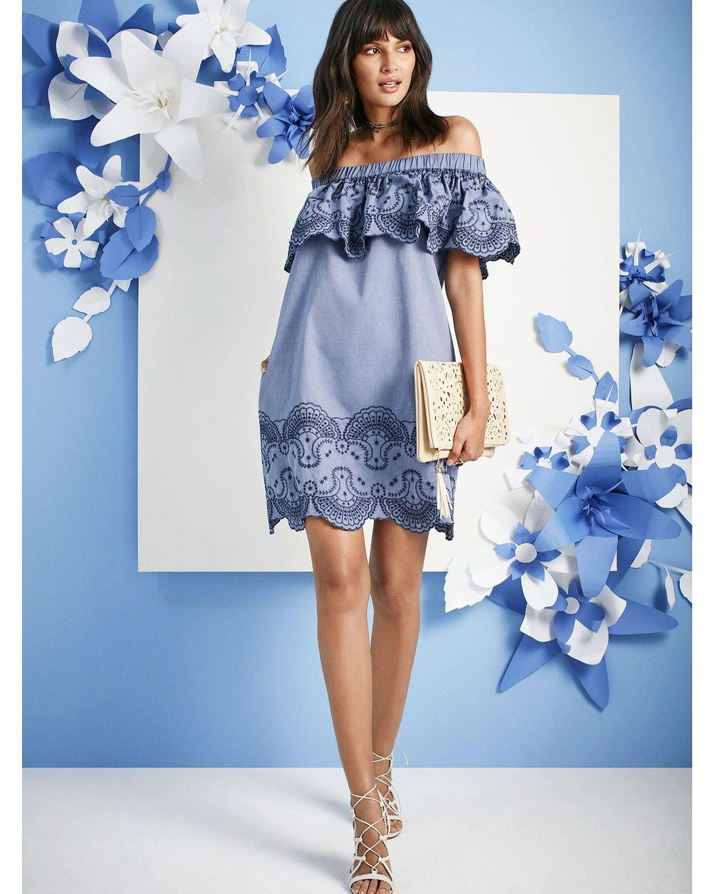 9347ac14be Lyst - New York   Company Embroidered Off-the-shoulder Shift Dress - Lily    Cali in Blue