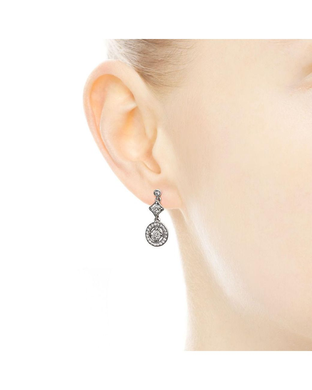8f60c9565 PANDORA Vintage Allure Drop Earrings - Lyst