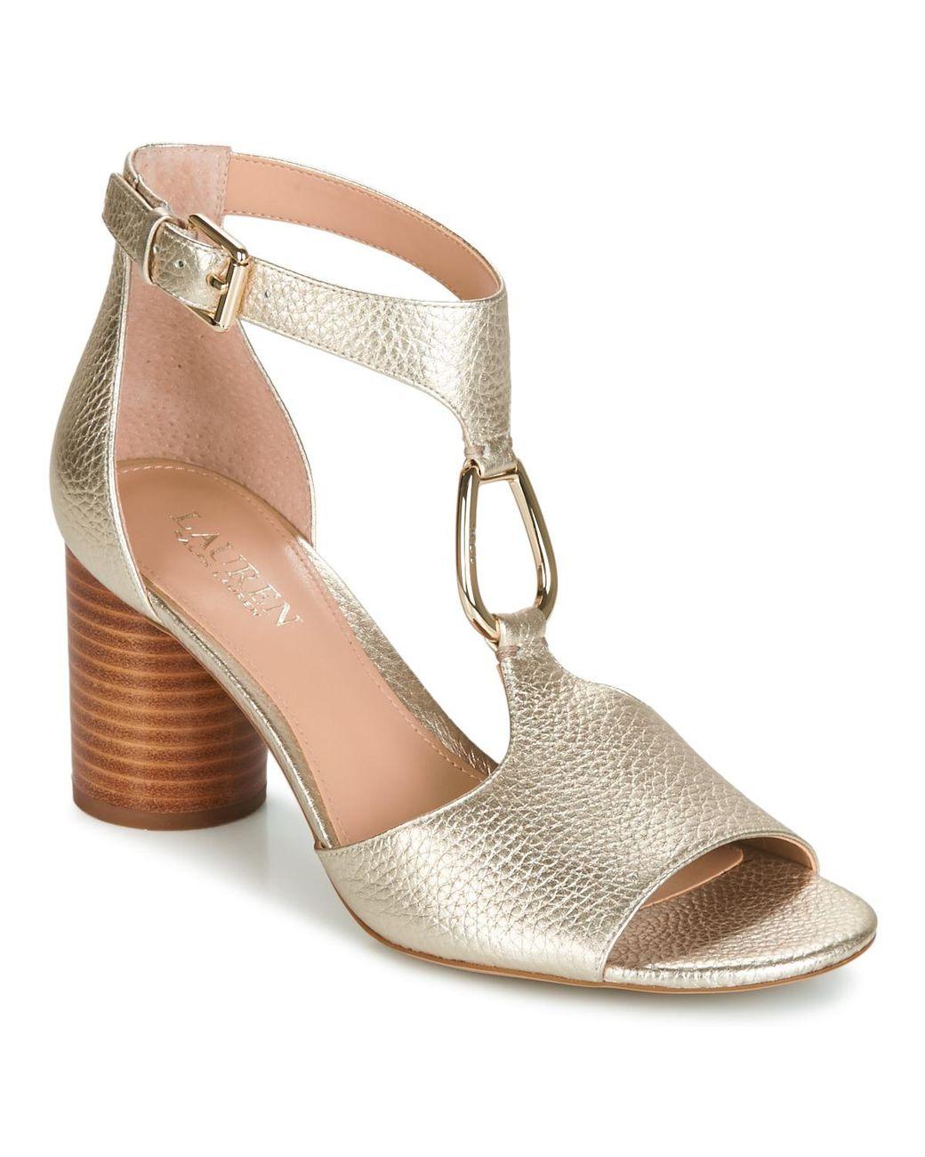 8efc9c4bb27 Lauren by Ralph Lauren Elesia Sandals in Metallic - Lyst