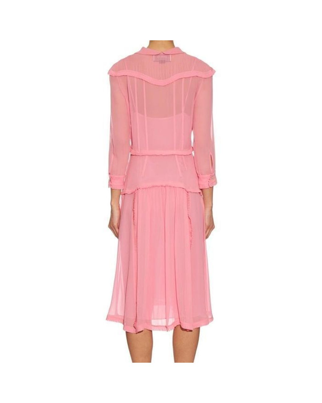 0d2c0d12625 Gucci Pink Ruffle Trimmed Silk Georgette Dress in Pink - Lyst