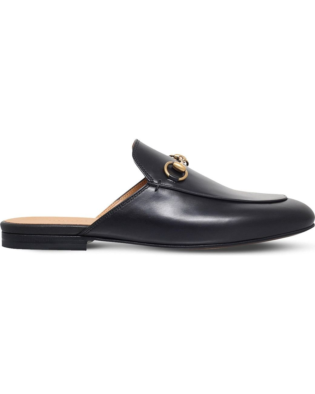 c7366773b52 Gucci Princeton Leather Slider Sandals in Black - Lyst
