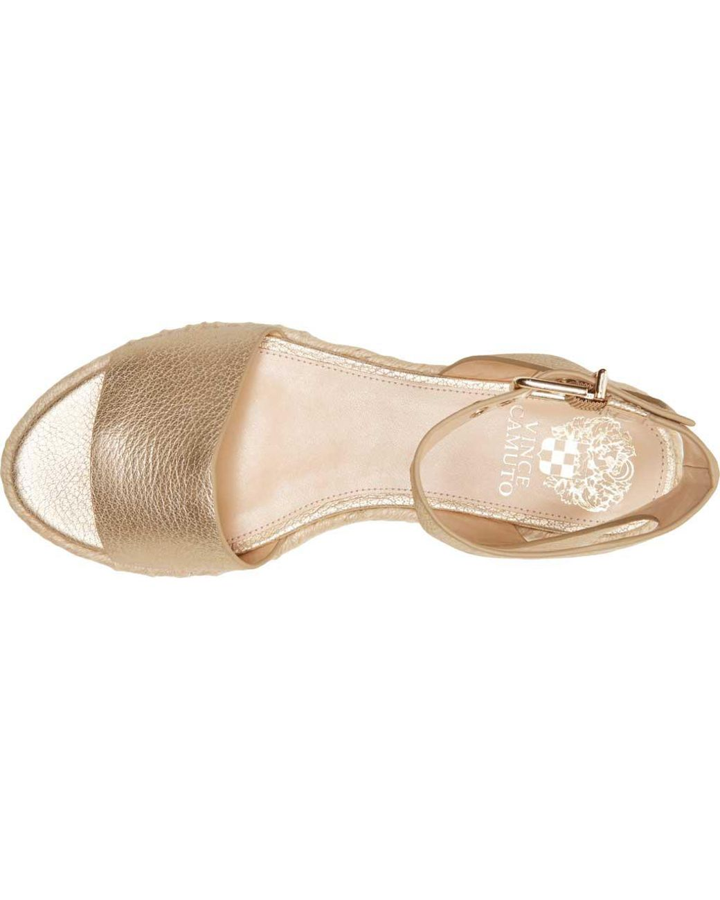 b60b8dfc737 Lyst - Vince Camuto Kathalia Metallic Leather Flatform Espadrille Sandals  in Metallic - Save 45%