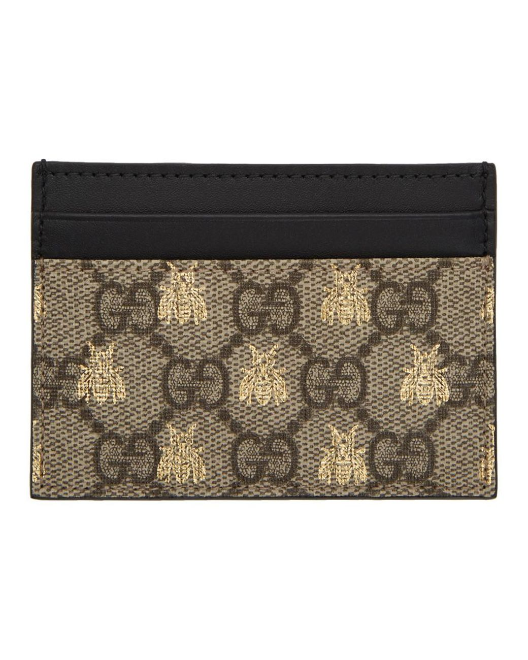 204e9043dad1 Gucci Beige GG Supreme Bees Card Holder in Natural - Lyst