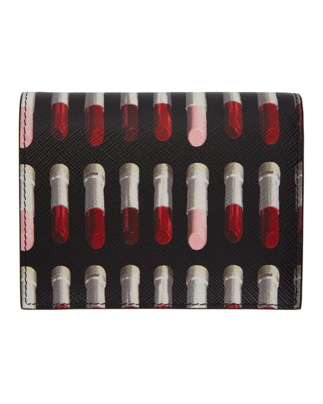 bfd661552824 Prada Black Saffiano Lipstick French Wallet in Black - Save 12% - Lyst