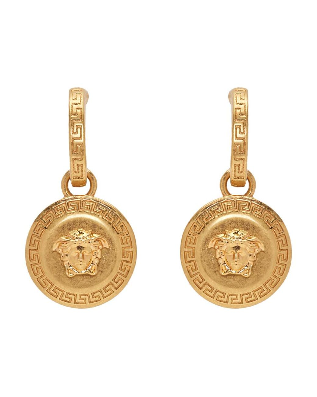 bf5e4a492 Versace Gold Medusa Tribute Pendant Earrings in Metallic - Save 2% - Lyst
