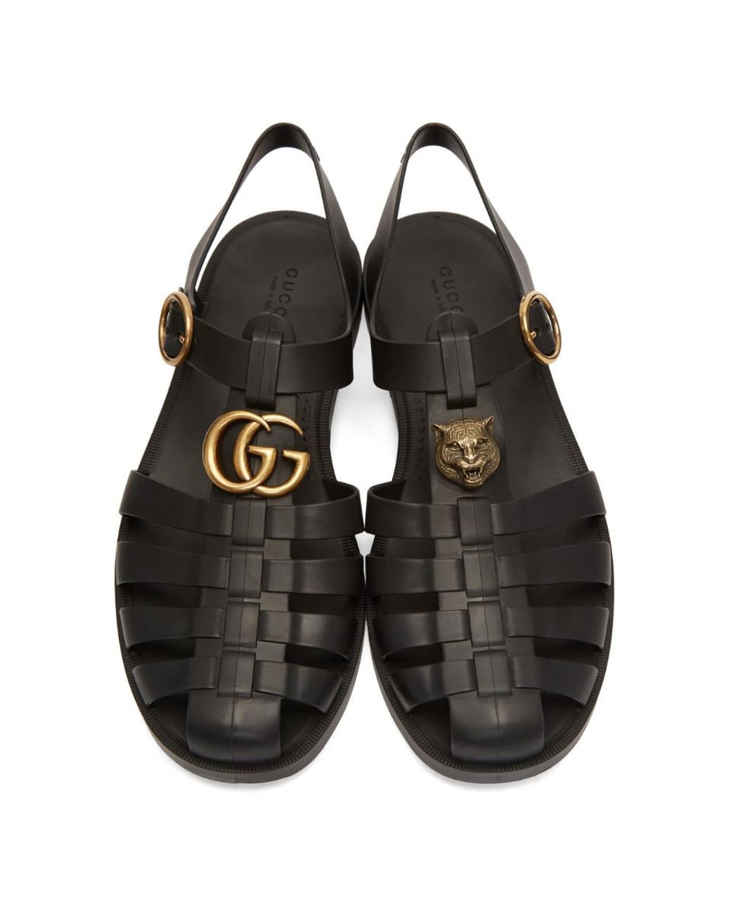 f19c114b1f3 Lyst - Gucci Rubber Buckle Strap Sandals in Black for Men - Save 6%