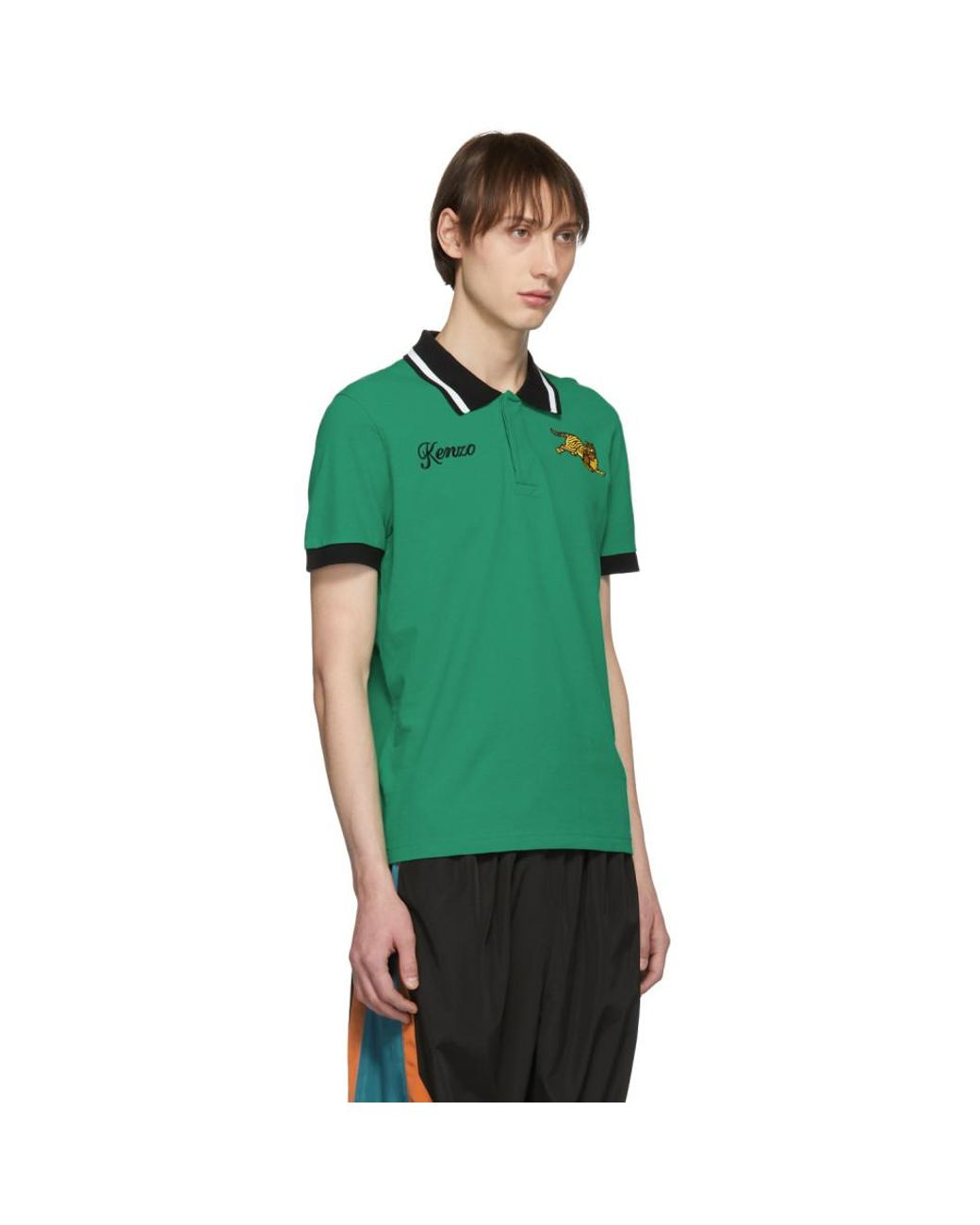 fec0f72195 KENZO Green Jumping Tiger Fitted Polo in Green for Men - Lyst