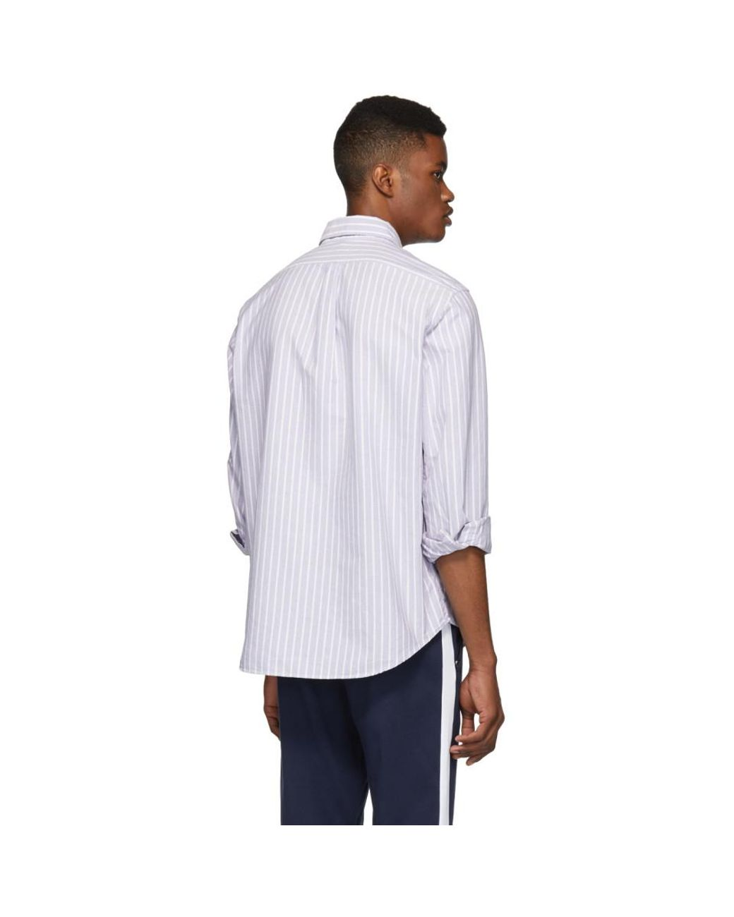 853536399 Polo Ralph Lauren Purple And White Striped Oxford Shirt in Purple for Men -  Lyst