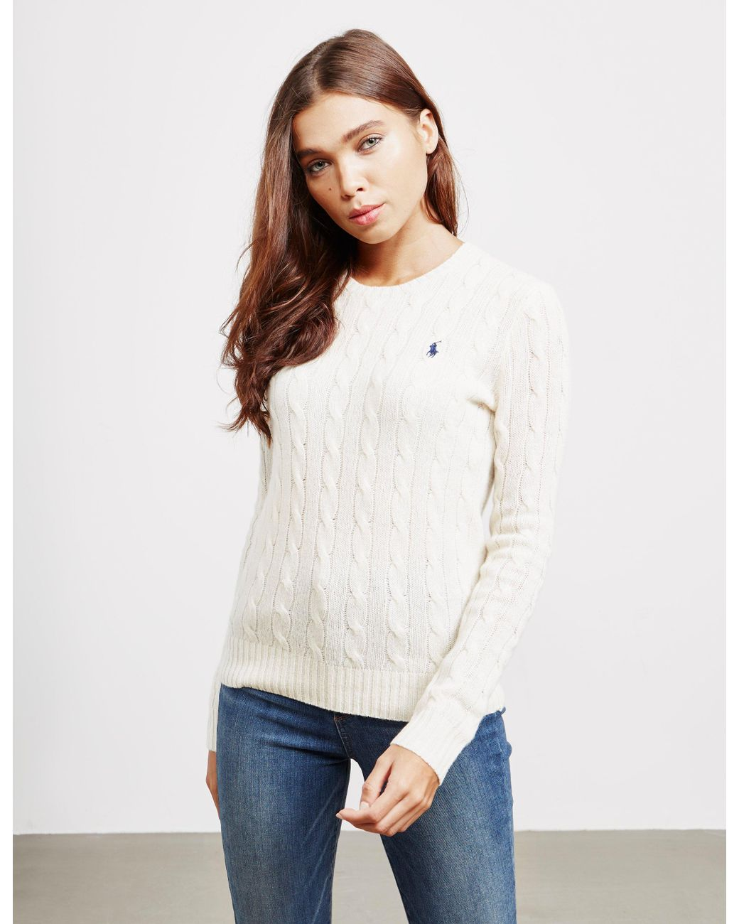 1f0bf205abef Polo Ralph Lauren Juliana Knitted Jumper Cream in Natural - Save 39 ...