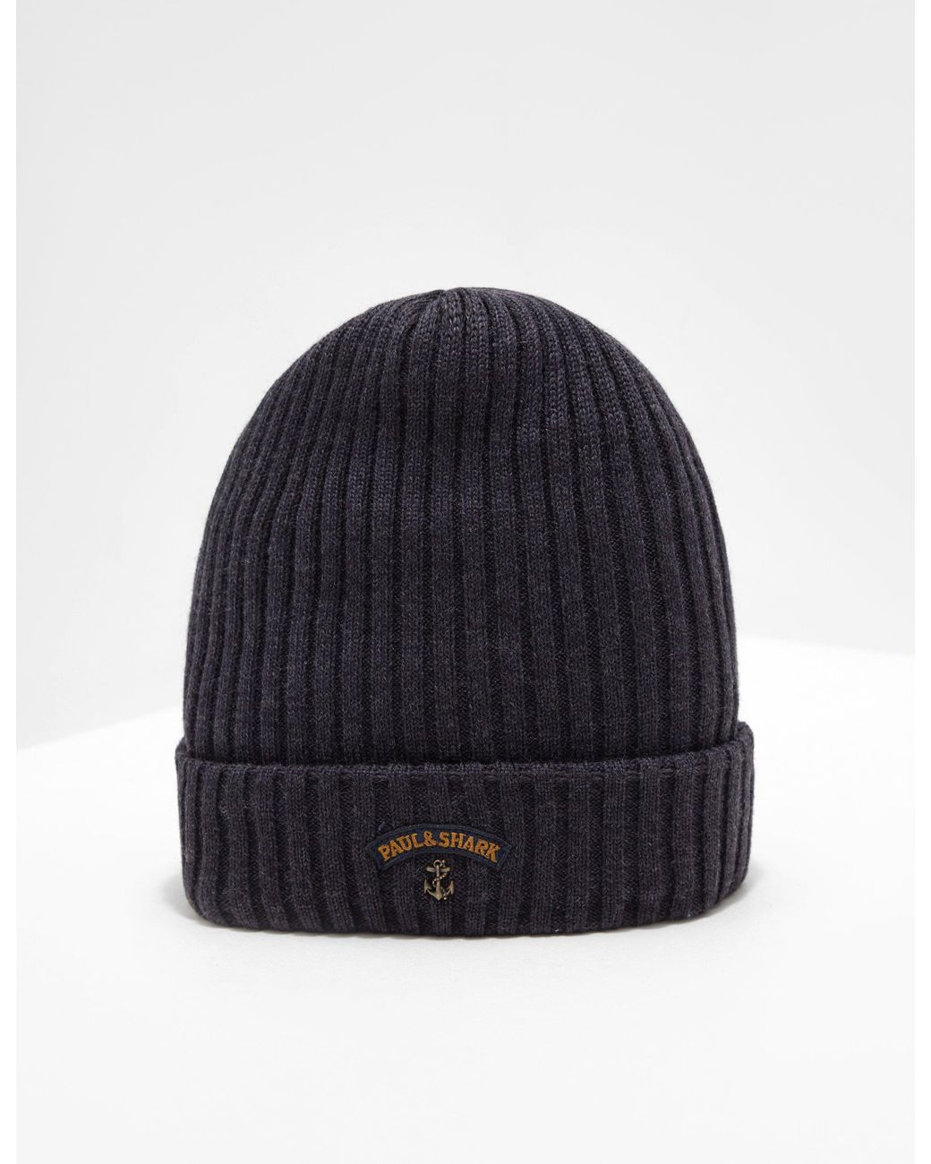 db528d2ea69 Paul   Shark Ribbed Knitted Logo Beanie Charcoal in Gray for Men - Lyst