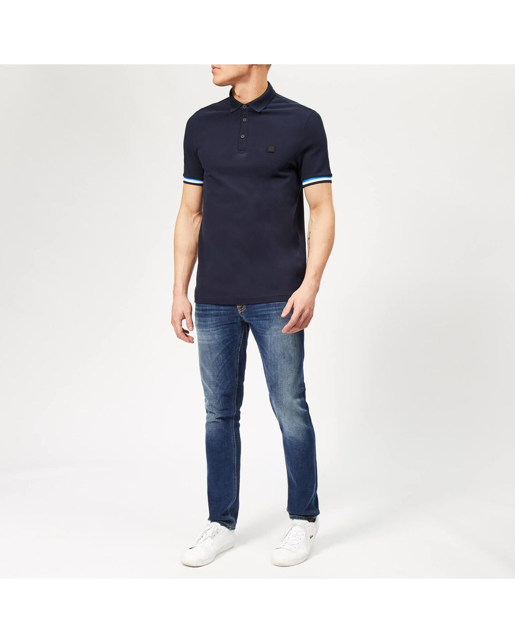 7083c8aa BOSS Printcat Polo Shirt in Blue for Men - Lyst