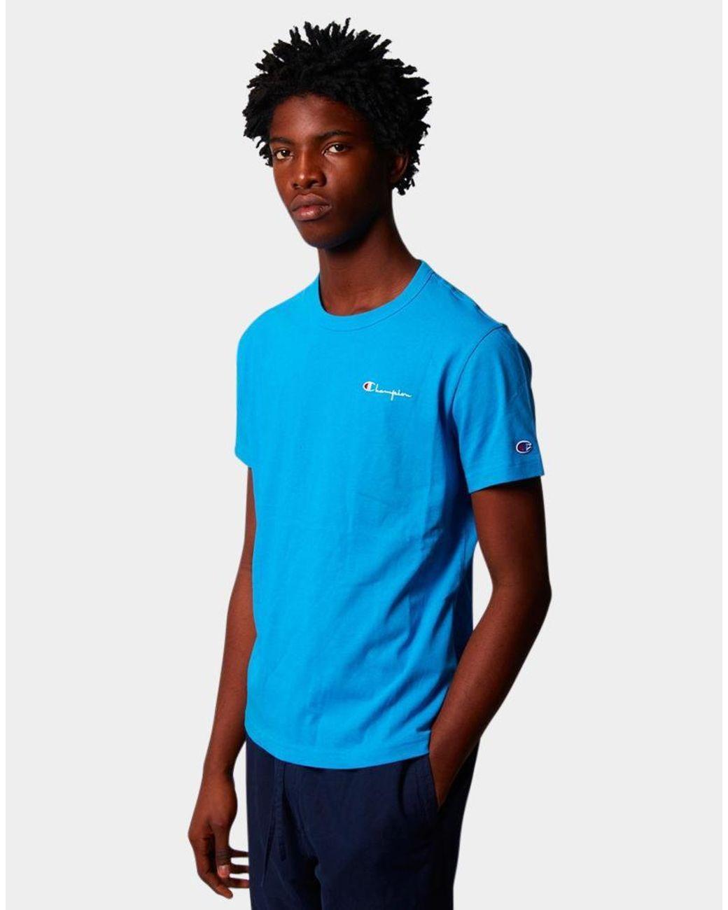 19f9548f Champion Crew Neck Tshirt Small Logo Blue in Blue for Men - Lyst