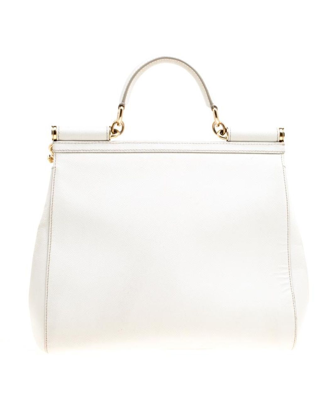 37f95914a71 Dolce & Gabbana Off White Leather Large Miss Sicily Top Handle Bag in White  - Lyst