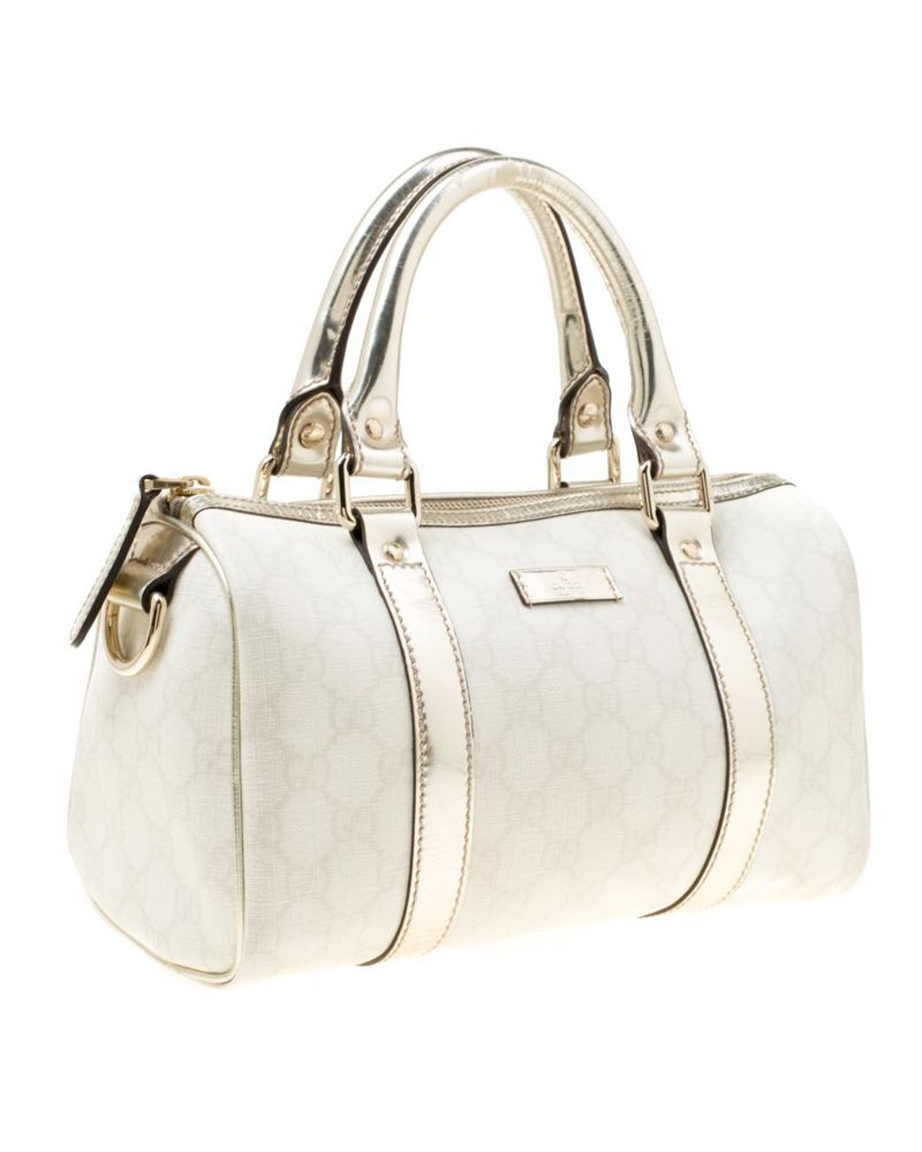 a84f69c14f2f Gucci Off White/gold GG Supreme Canvas Small Joy Boston Bag in White - Lyst