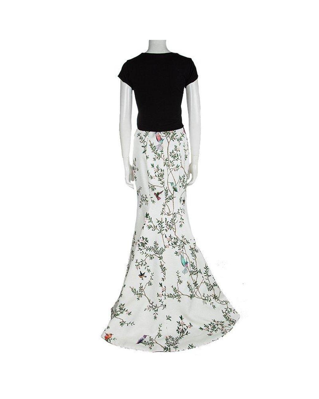 eb52e7b041d0d Monique Lhuillier Off White Pebble Jacquard Printed High Waist Maxi Skirt M  in White - Lyst
