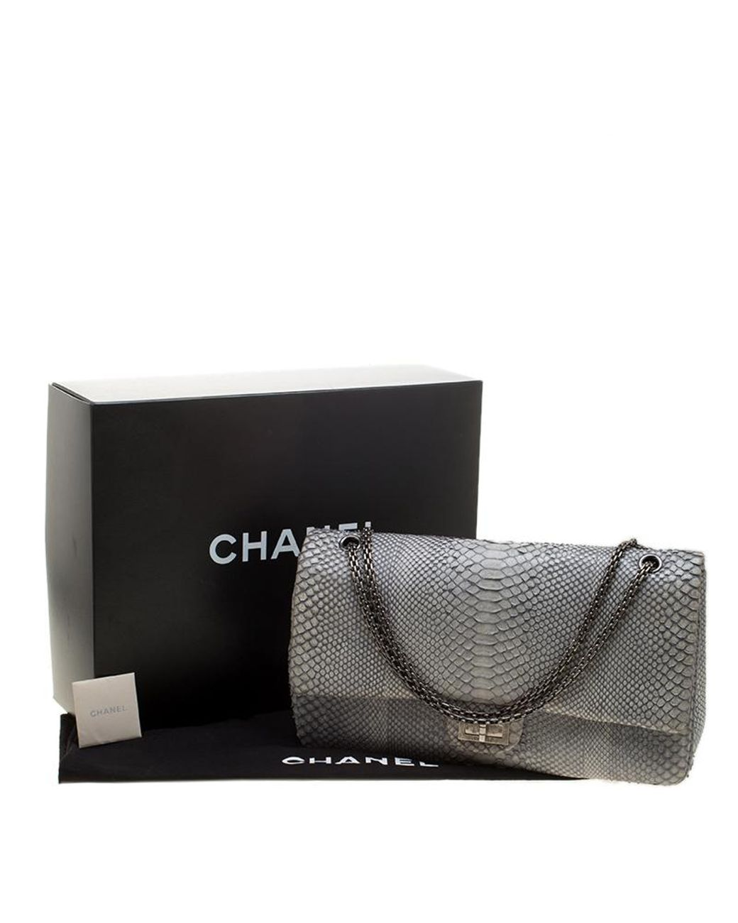 f41eb128f389ad Chanel Grey Python 2.55 Reissue Double Flap Shoulder Bag in Gray - Lyst