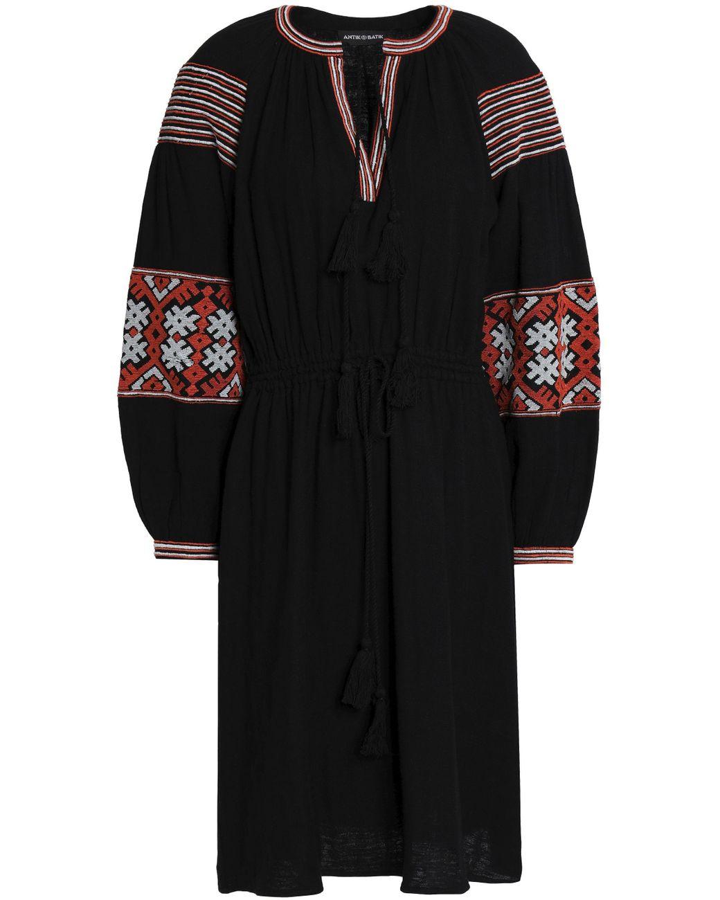 641cc7539dd Antik Batik Woman Mobi Embroidered Cotton-gauze Dress Black in Black ...